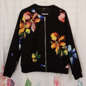 Mossimo Black Vibrant Floral Bomber Jacket Size XL
